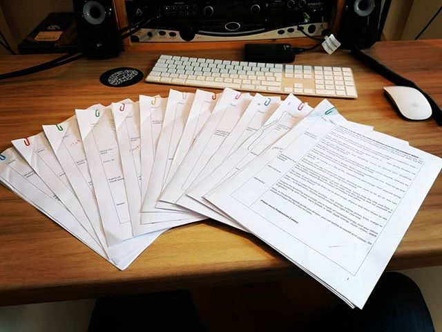 So I've almost finished my first voice-over gig... Here's a big thumbs up to facing new challenges, experiences and stepping outside your comfort zone 👍  50 A4 pages of script has been recorded and (almost entirely) edited. Man, I hate editing - It's so boring and tedious. It was a good gig though. Working with a lovely hypnotherapist here in England for a company 'across-the-pond' in America. Overall it was good, I'd do it again 😊  What have you guys done lately to push yourself further? 😁  #recording #recordingengineer #recordingstudio #recordinginthecountryside #editing #audioediting #musicproducer #musicindustry #entertainmentindustry #voiceover #voiceoverartist #script #monologue #actor #actress #newchallenge #newchallenges #newexperience #newexperiences #acrossthepond #paper #keyboard #mouse #coaster #desksetup