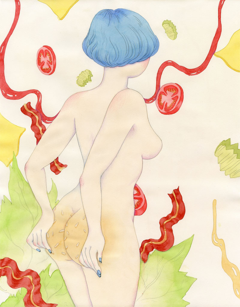 Buns   Watercolor and pencil. 16x20. 2014.