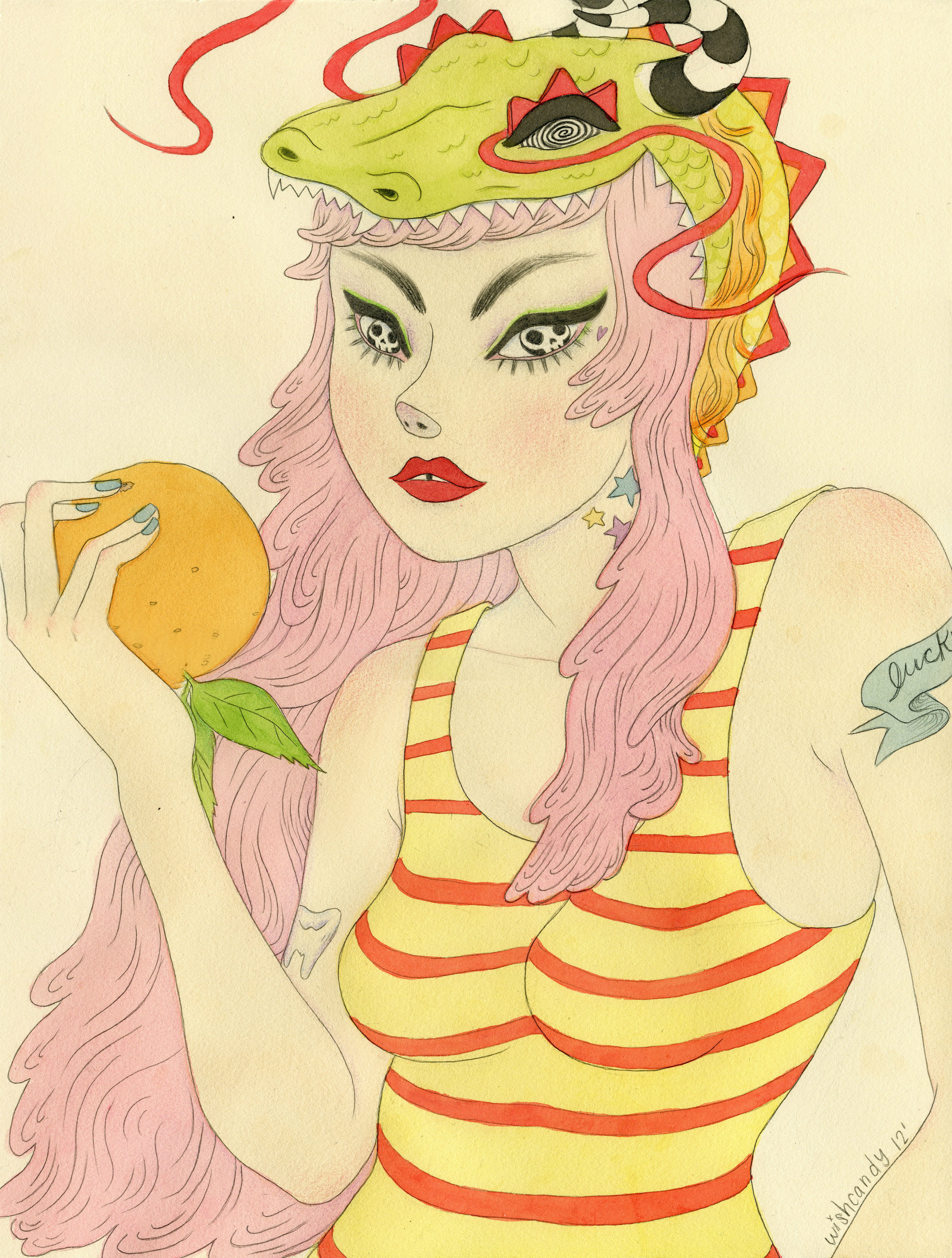 Miss Fortune   Watercolor and graphite. 12x16 inches. 2012. Year of the Dragon show at Giant Robot. SOLD