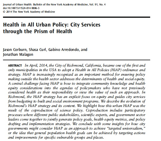 Health in All Urban Policy: City Services through the Prism of Health