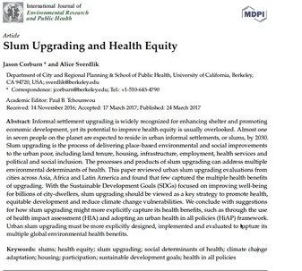 Slum Upgrading and Health Equity