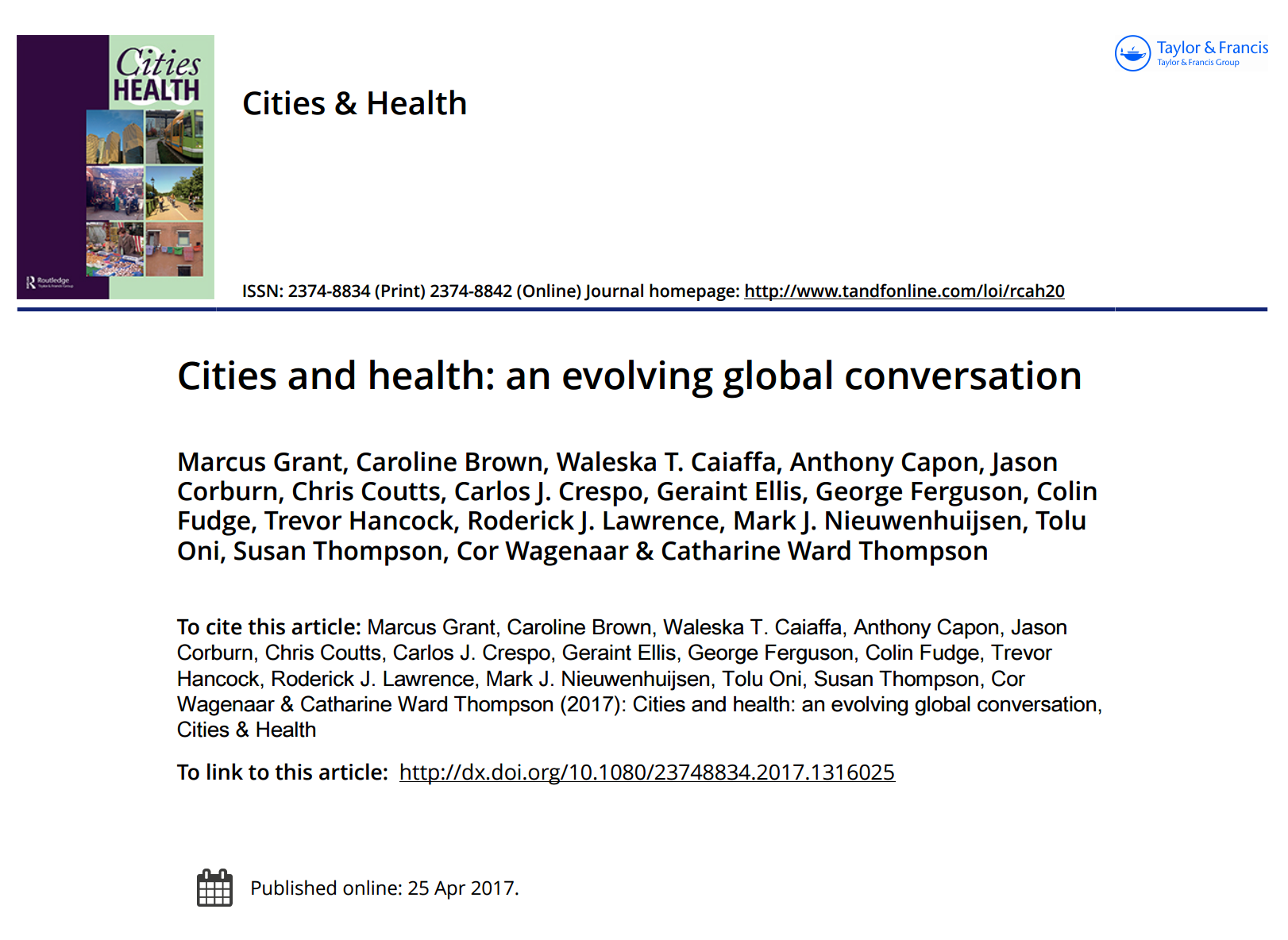 Cities and Health: An Evolving Global Conversation