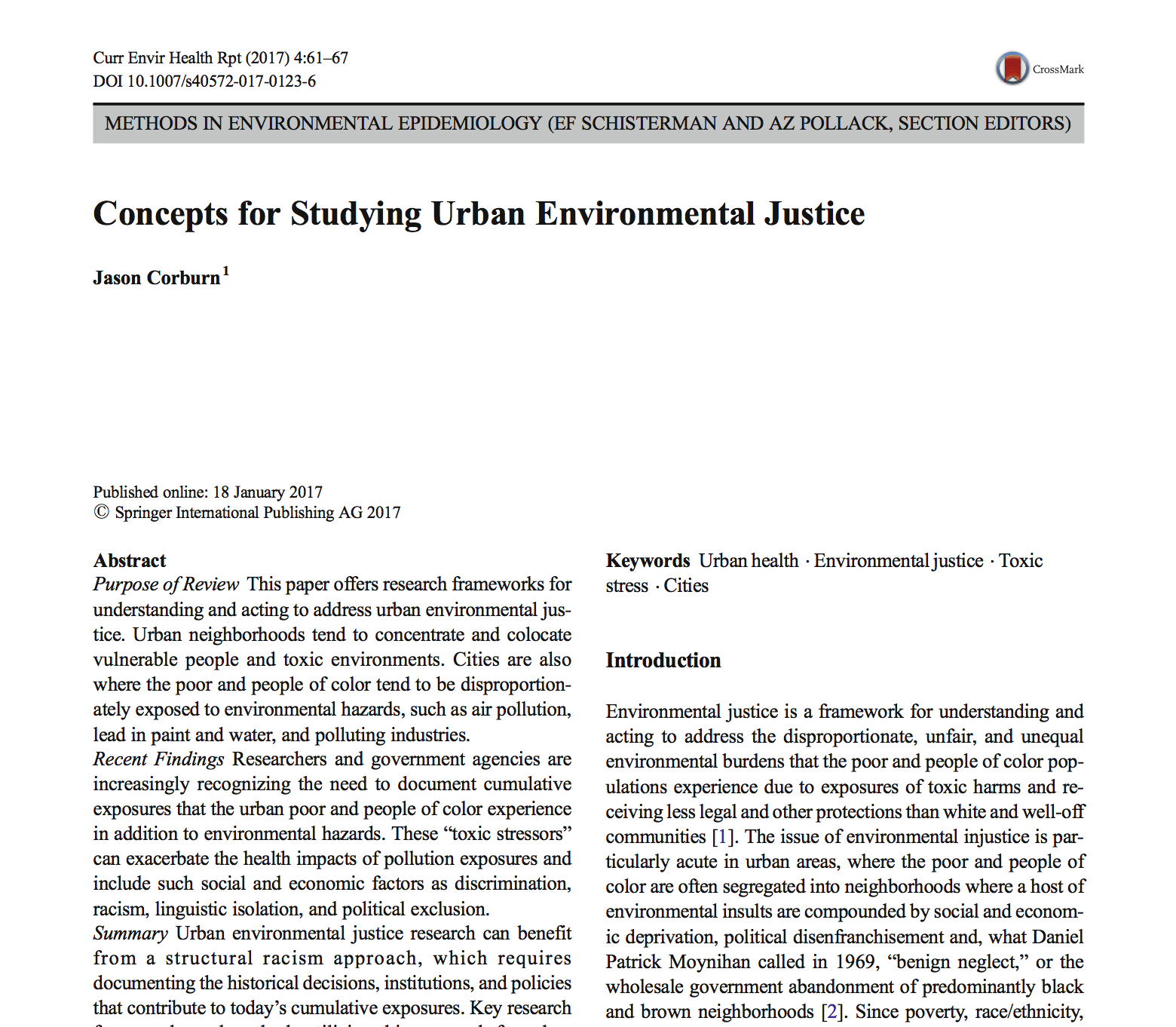 Concepts for Studying Urban Environmental Justice
