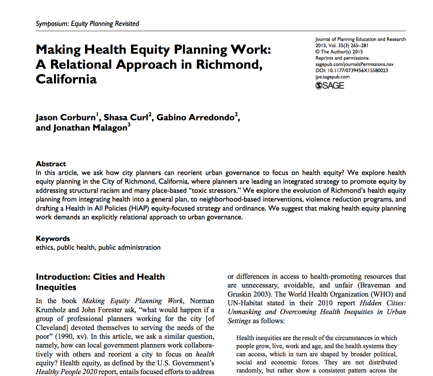 Making Health Equity Planning Work: A Relational Approach in Richmond, California