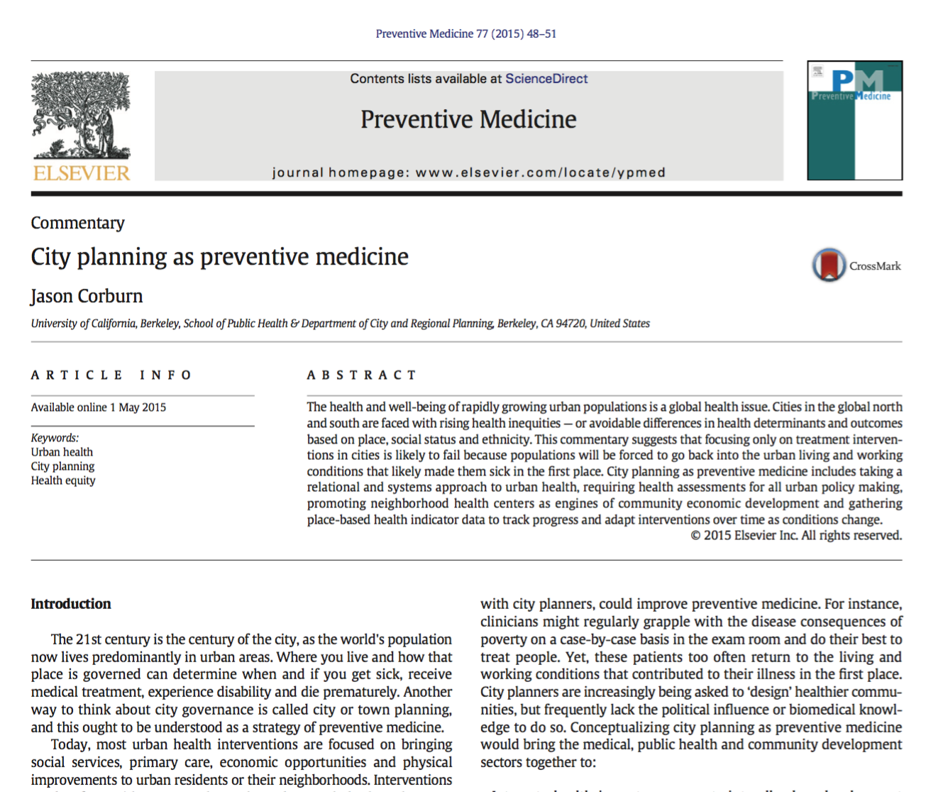 City Planning as Preventive Medicine