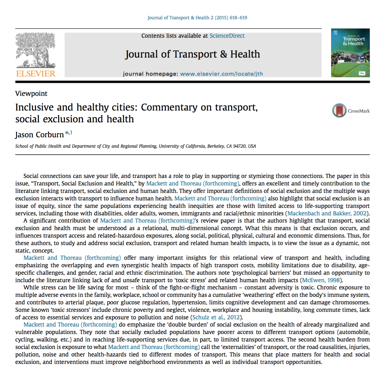 Inclusive and Healthy Cities: Commentary on Transport, Social Exclusion and Health