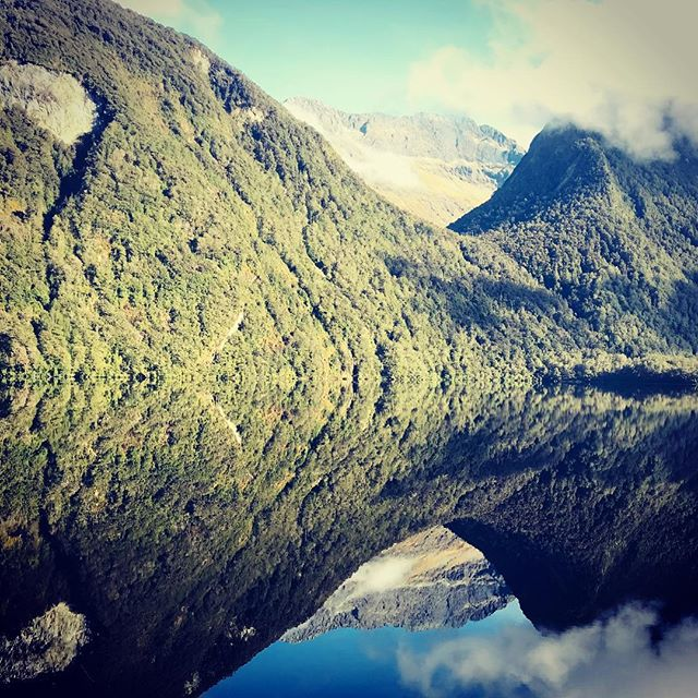 """A moment of silence is actually a very loud moment."" #reflection #fiordland #cheekykiwi #milfordsound"