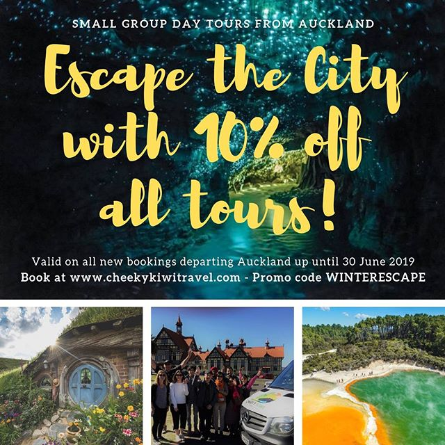 Get in quick... 10% off all tours departing Auckland ends soon! #smallgrouptours #traveldeals #rotorua #waitomocaves #hobbiton #escapethecity #cheekykiwitravel Book now @cheekykiwitravel