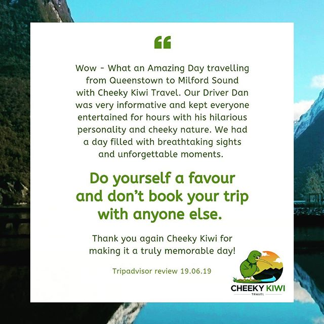We love our customers @cheekykiwitravel and go out of our way to ensure they have an amazing experience with us! #tripadvisorreview #guestexperience #reccomended #tripadvisorcertificateofexcellence #cheekykiwitravel #smallgrouptours #queenstown #nzmustdo #queenstownmustdo #5star #customersfirst #daytours #customerexperience