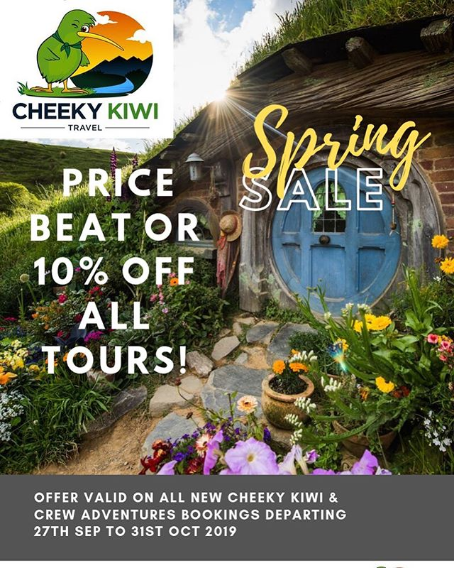 Price beat or 10% off all tours booked during Sep & October. Auckland, Hobbiton, Rotorua, Waitomo Tours. Use promo code Springsale10 while booking on our website www.cheekykiwitravel.com  #cheekykiwitravel #nztours #newzealandtrip #mustseenz #hobbitontours #rotorua #waitomocaves #nzmustdo #wanderlust #wanderlustnz