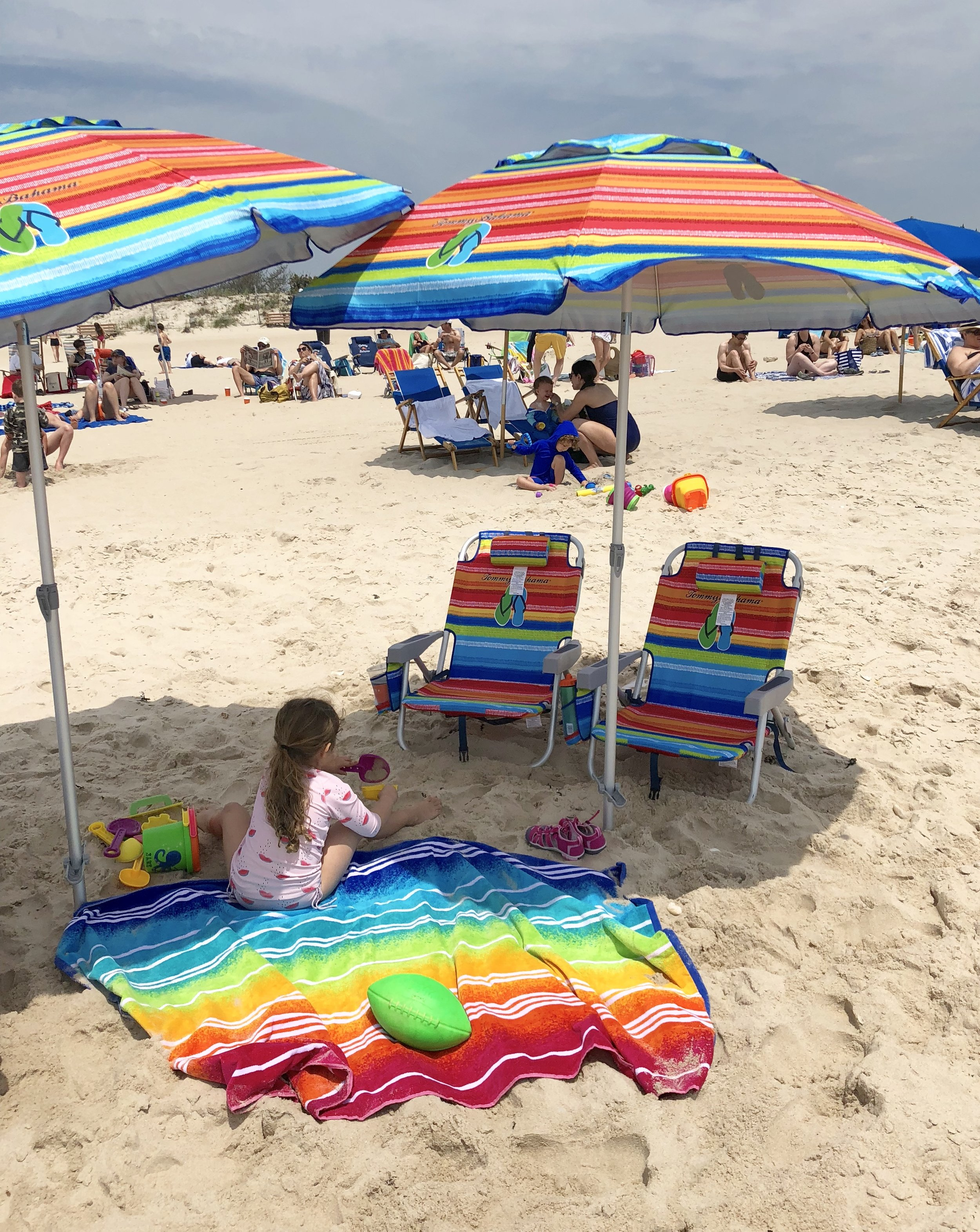 When at the beach you have to create your own shade!