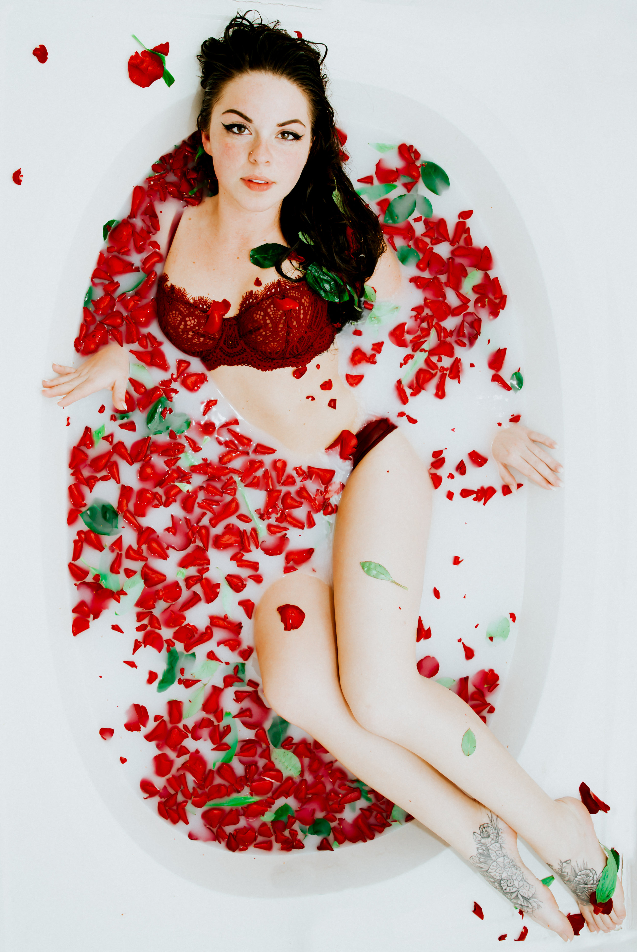 Melissa in a Full Rose Petal Bath