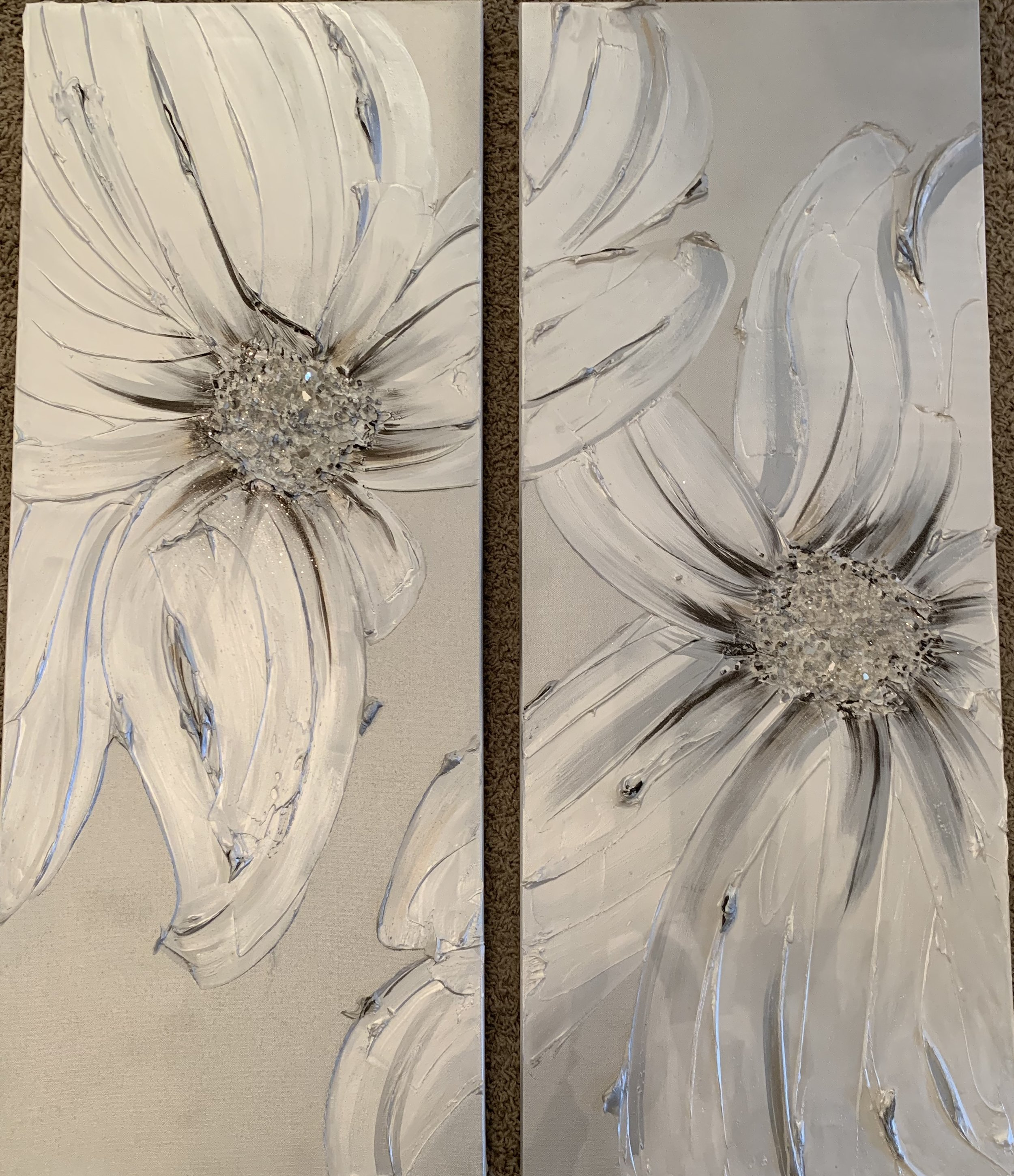 Sometimes we just need 'Bloom' to be in pairs. these are shown as two 16x40. they can also be hung horizontally.