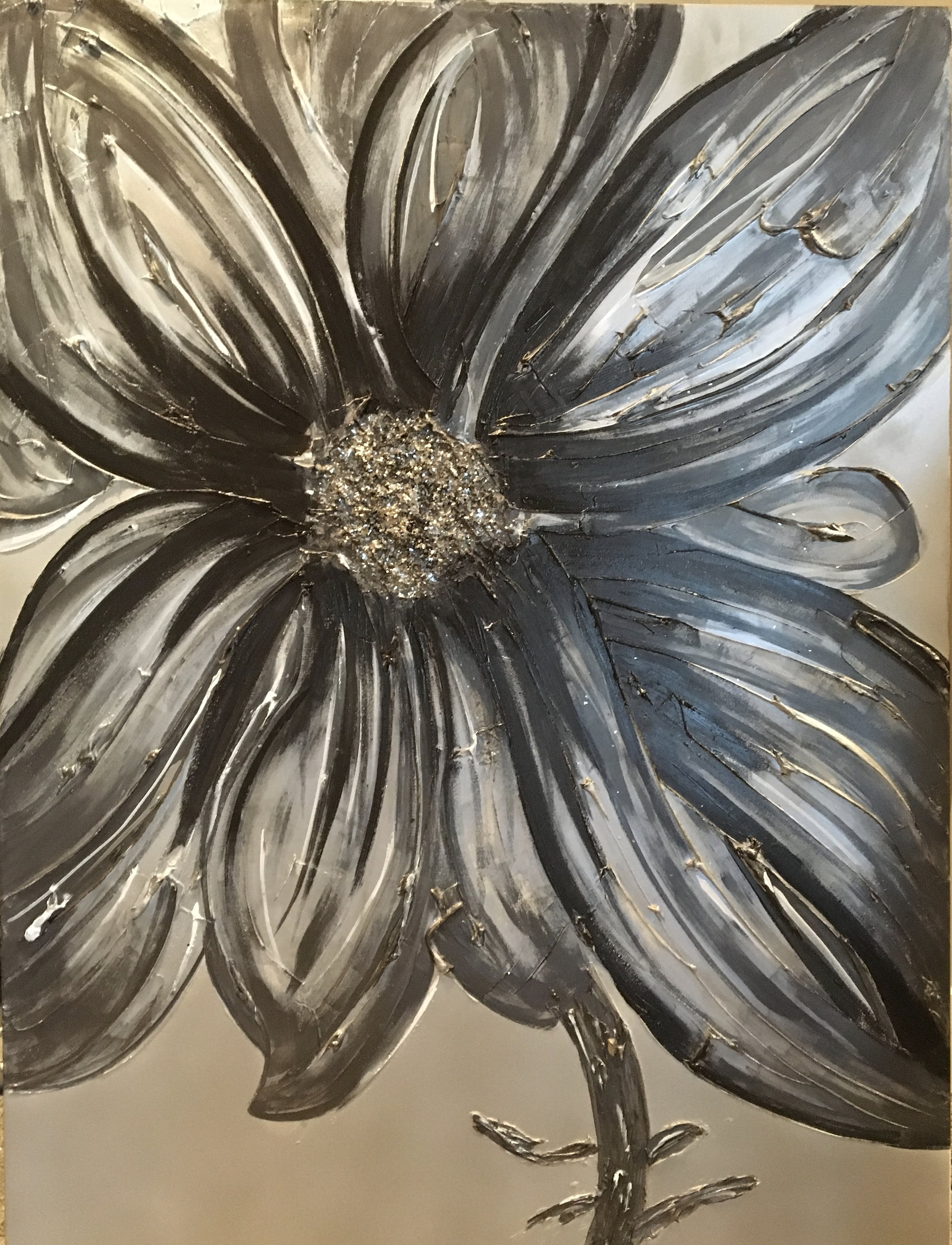 This 'Bloom' is darker and is shown with oil rubbed bronze and silver/grey tones in a 36x48