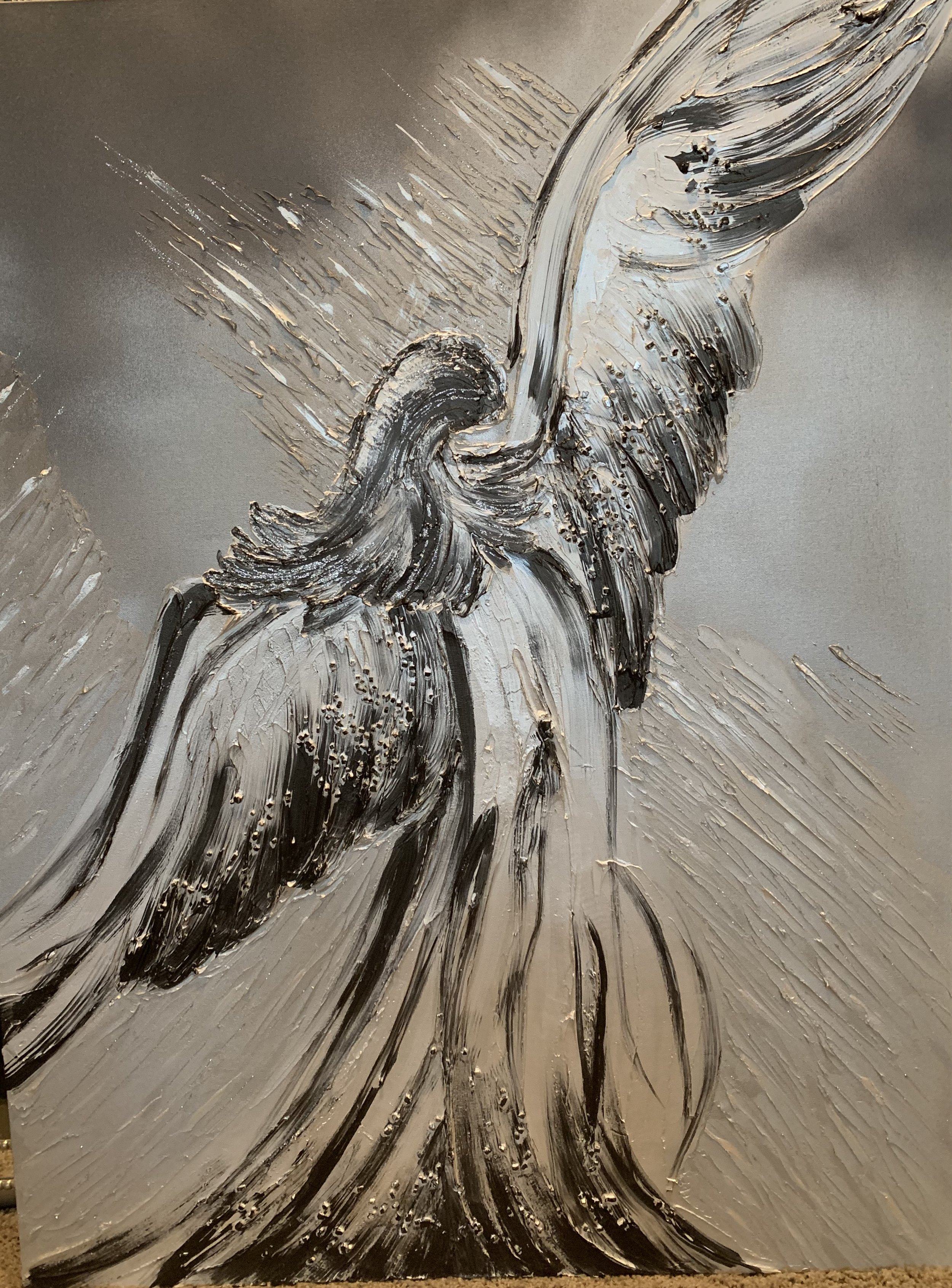 'Angel' will inspire you to see the possibilities. She is shown in black, diamond white and grey tones. She is embellished with texture and just enough sparkle. She is shown in a 36x48.