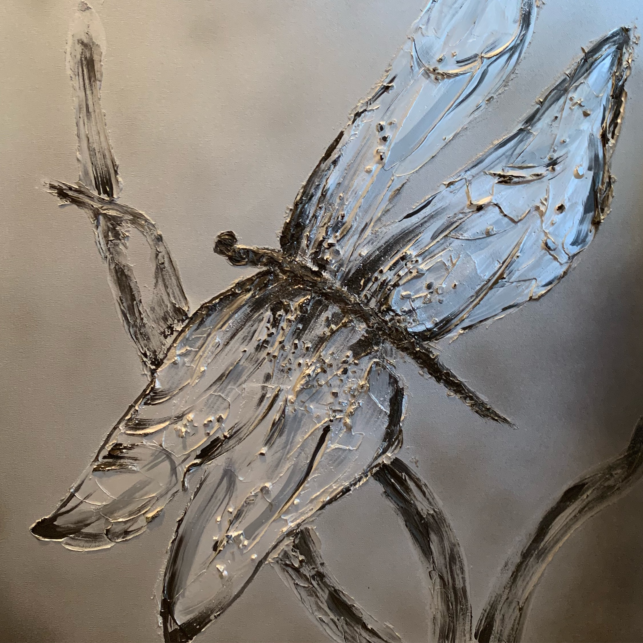 'Dragonfly' symbolizes change, transformation, adaptability and self-realization. I need them EVERYWHERE! This is my version of this spiritual creature in diamond white, silver, grey and bronze. this is shown in a 36x48