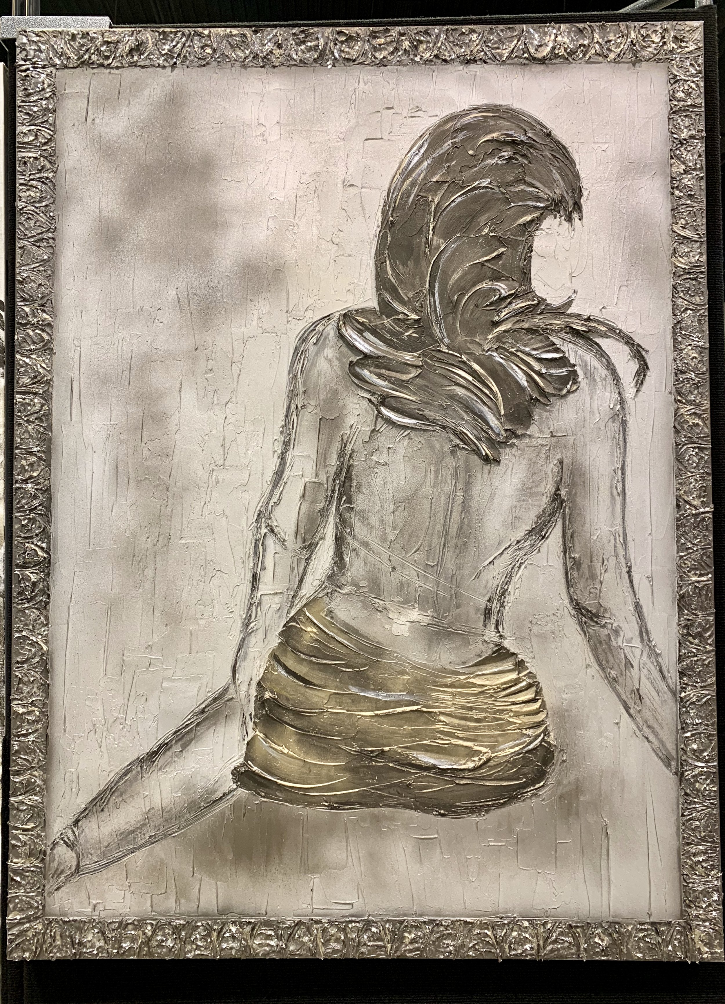 'Scarlett' is a little more subtle with a frame around her in texture that passes for an embellished frame. shown in a 36x48.