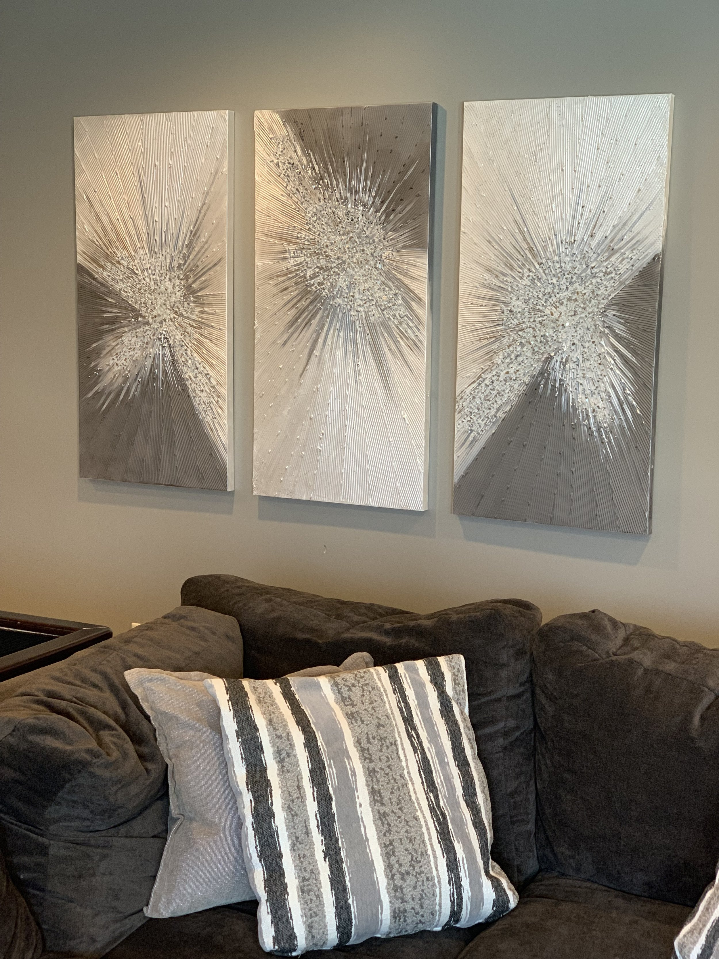 'Custom Burst' in a tryptic. These say wow in person with lots of drama, texture and  he loved them too! these are all 24x48.