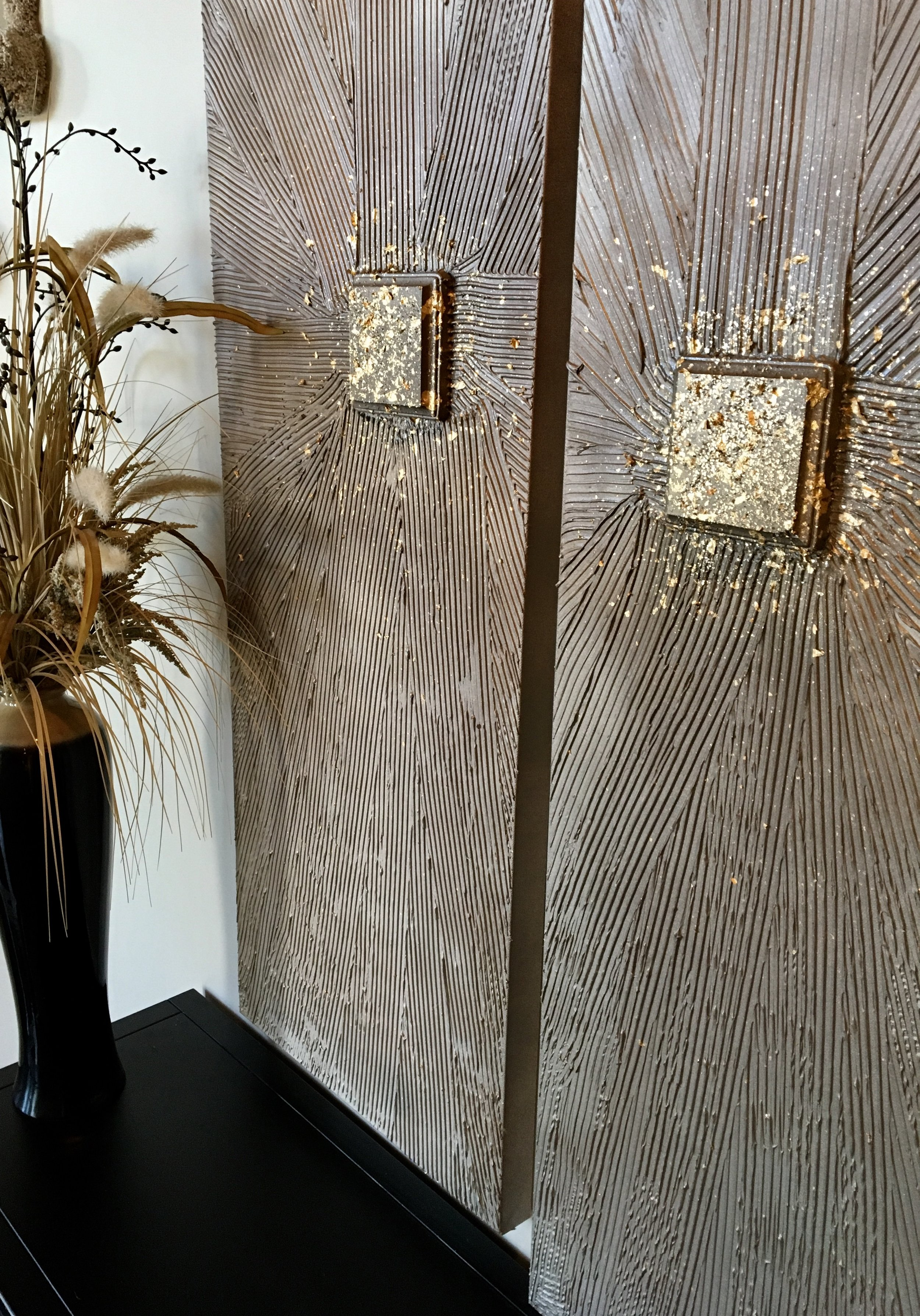 'Golden Buckle' has a background in bronze tones with a buckle in gold  and lots of sparkle. shown in two 16x40.