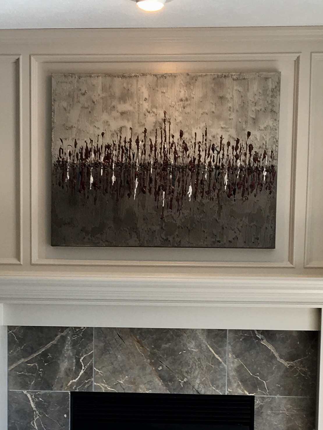 'Horizon' has a silver top, graphite bottom with textured black cherry, white and black accents running through the horizon. Shown in a 30x40.
