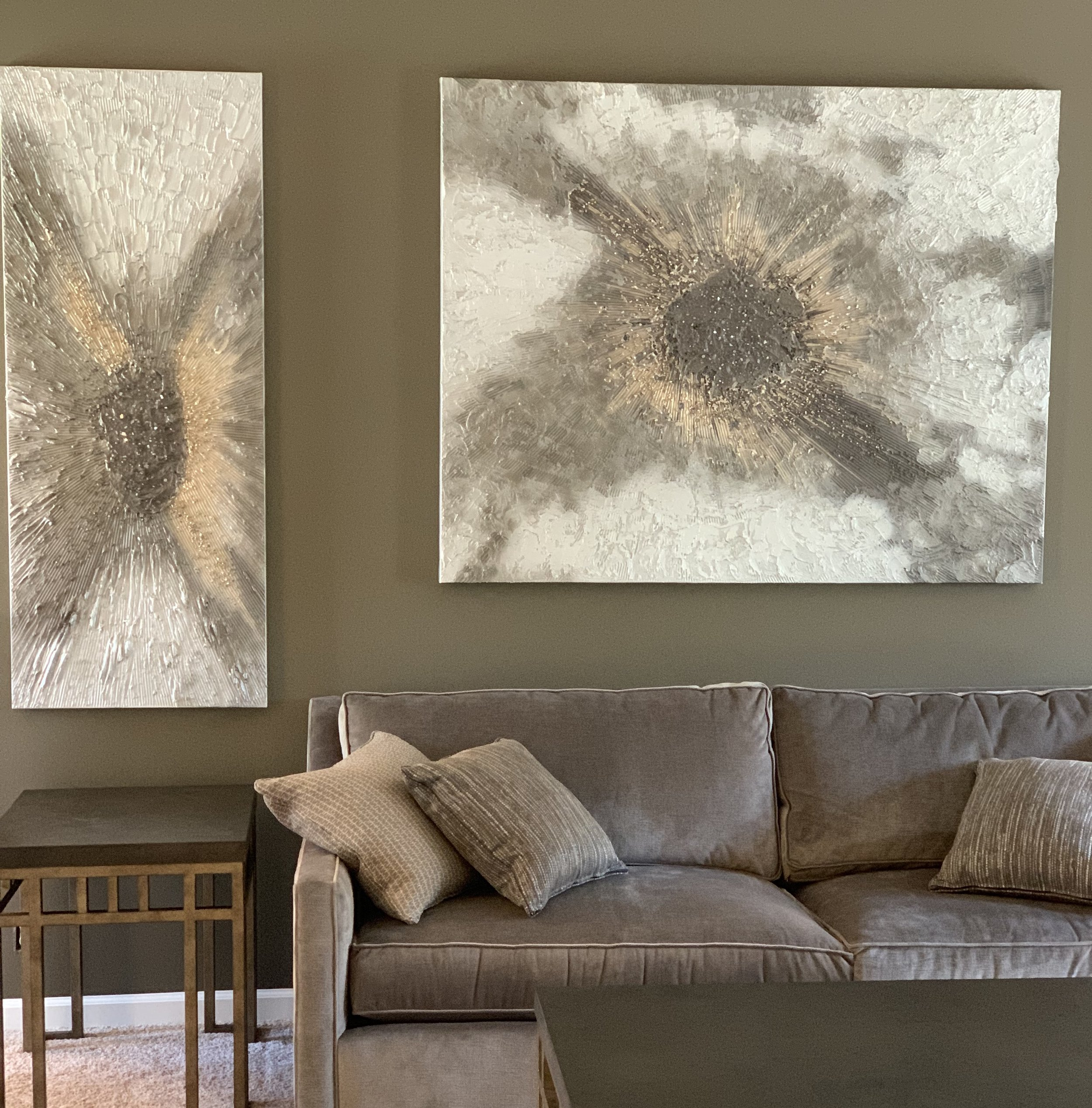 'Majestic' has a lot of texture in tones of champagne, mocha and grey. The vertical piece is 24x60 and the horizontal is 48x60.