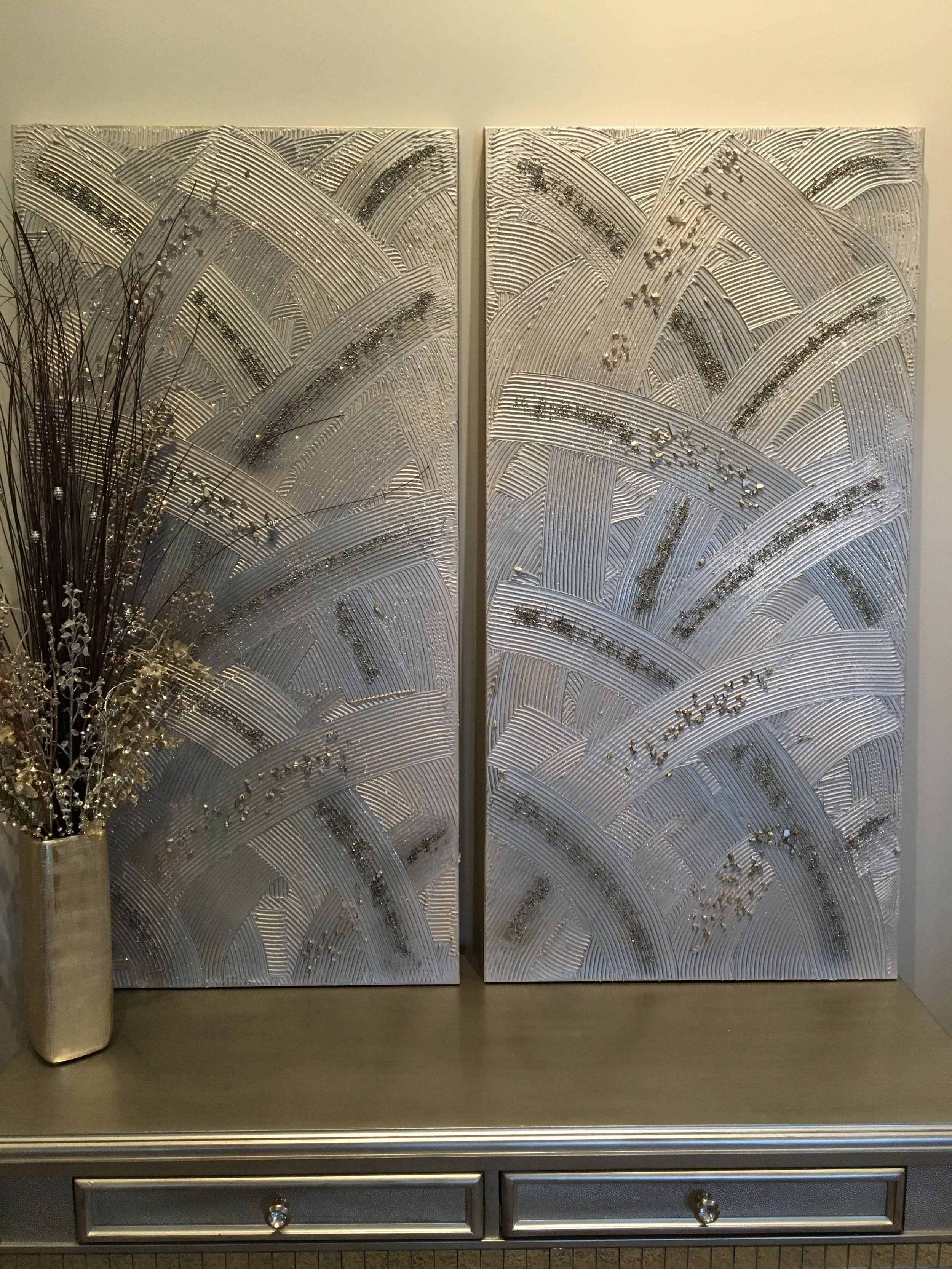 'Satin Feathers' has a peaceful movement to it in Silver and grey tones with stones to bring more texture and movement. Shown in two 24x48