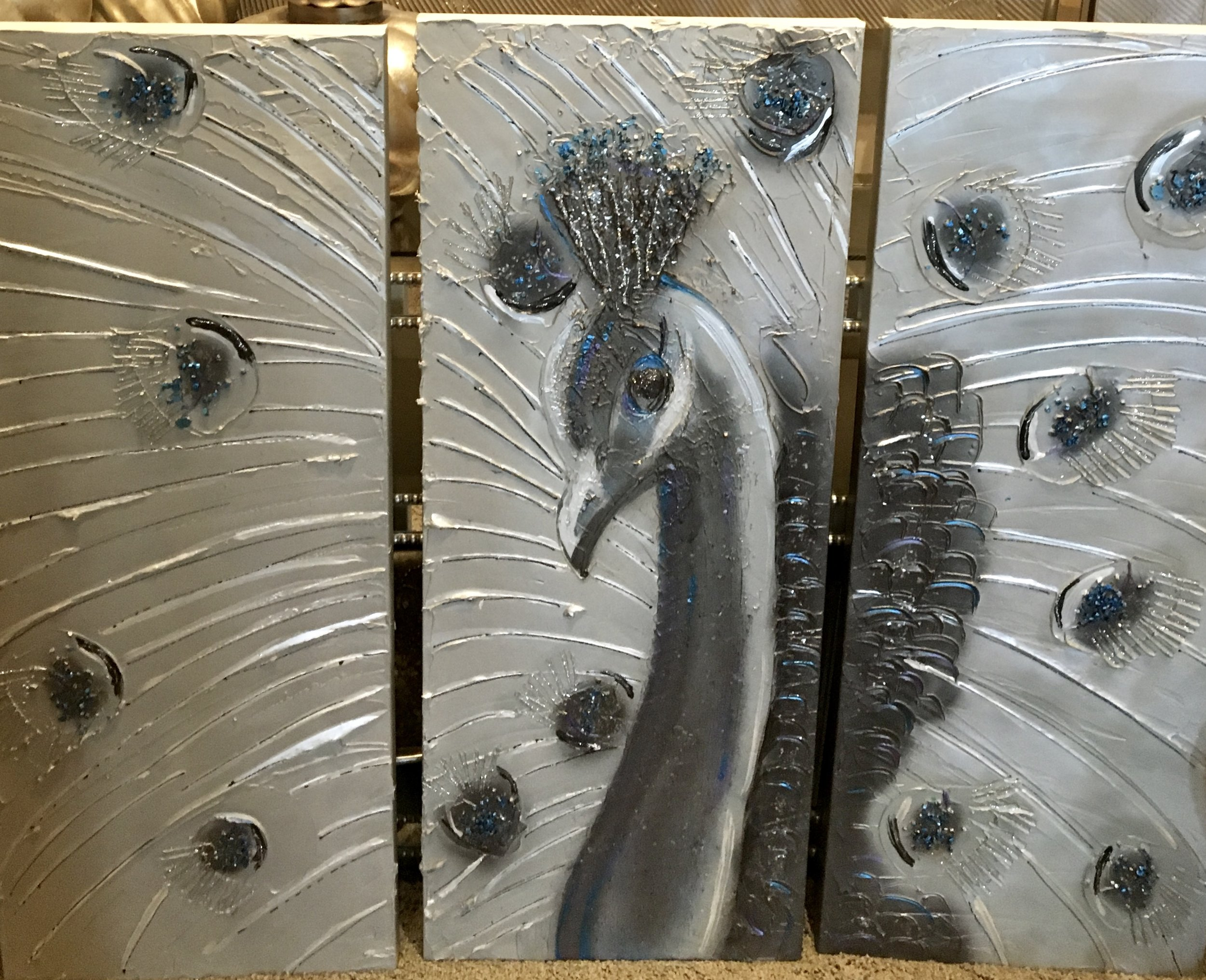 Done in a triptych, this Peacock makes a statement. Not in the traditional colors, but I did add a beautiful blue to make him stand out!