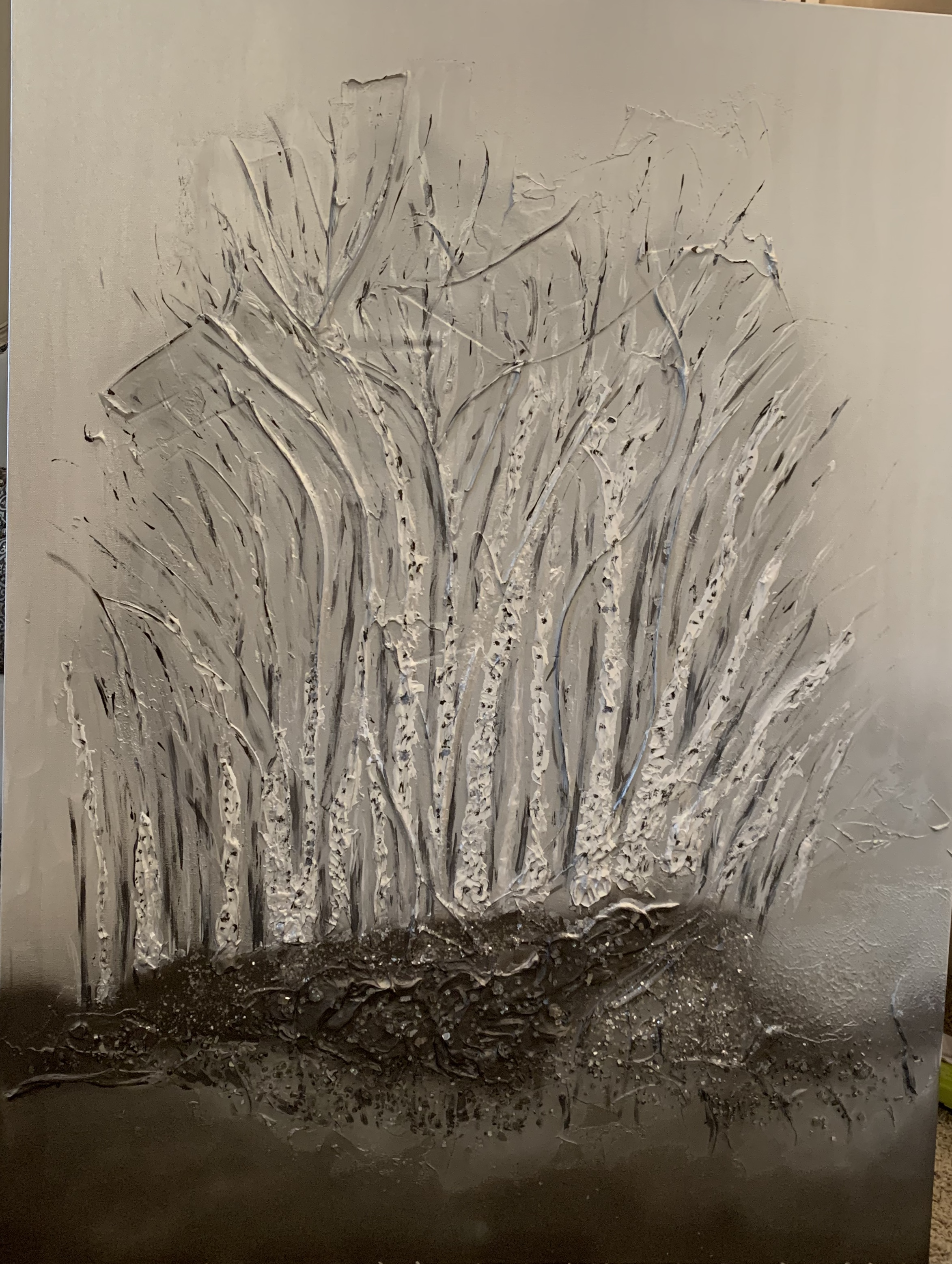 'Birch Bouquet' is a group of contemporary trees set off in the distance with a shimmer of silver, grey, graphite with lots of dimension and sparkle.