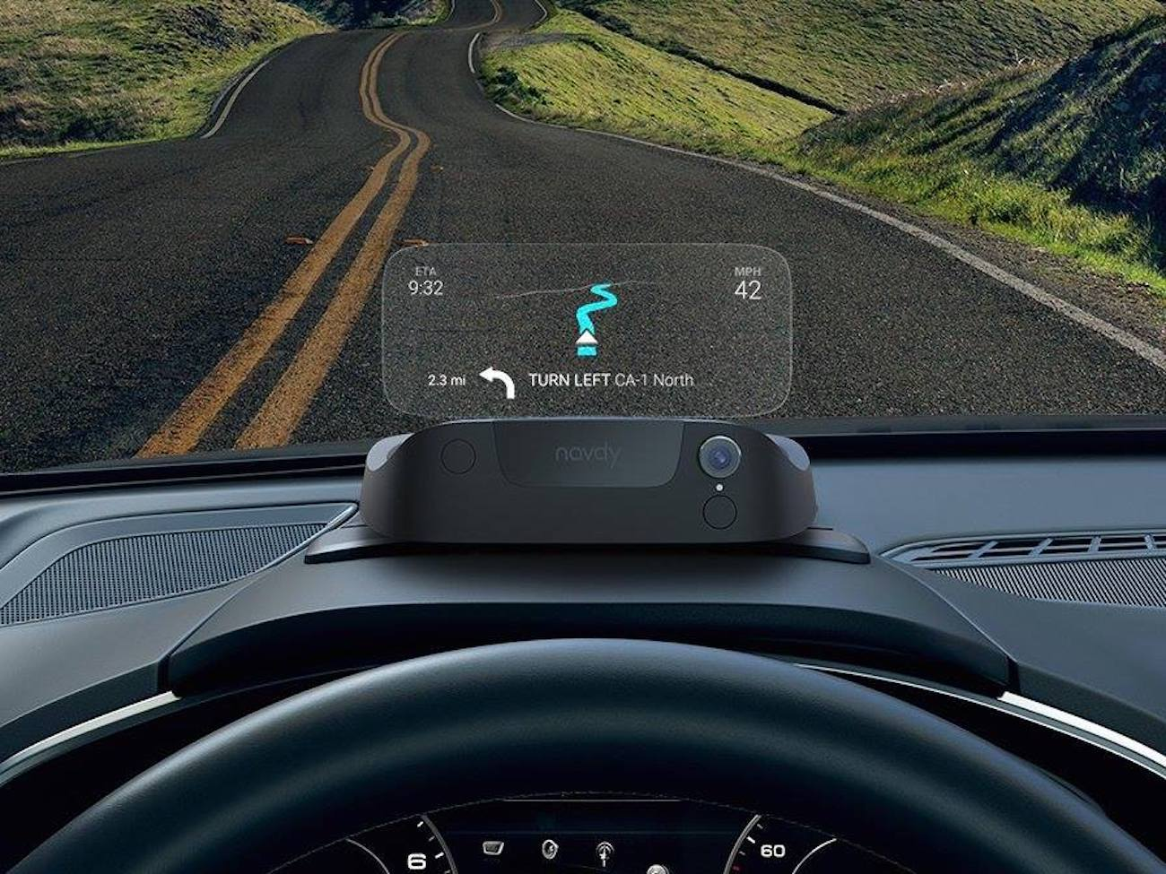 Navdy Portable Head-Up Display   Retain your eyesight on the road and let the Navdy Portable Head-Up Display take care of the navigation.