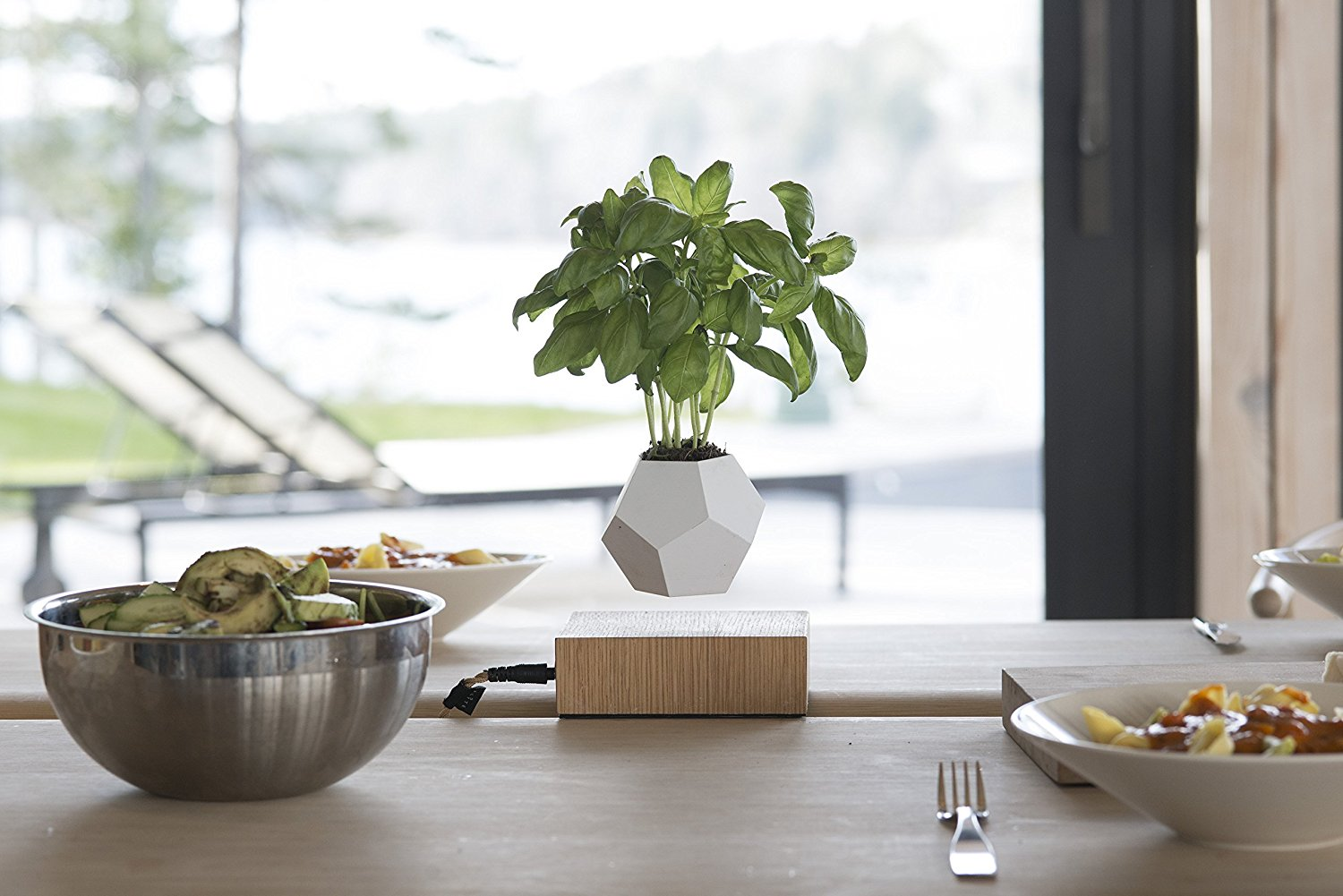 Lyfe Levitating Plant Pot - Add some minimal futuristic plant pot to your office desk with the Lyfe Levitating Plant Pot. No more soil required, the rotating microclimate and gravity-defying naturally nurtures the plant. The pot rotates slowly in a circle due to the use of the maglev technology. With the magnetic field feature, it enhances and accelerates the growth of the plant's metabolism. NASA studies say that by placing a plant in your office, it increases air quality, removes toxins and reduces stress level.