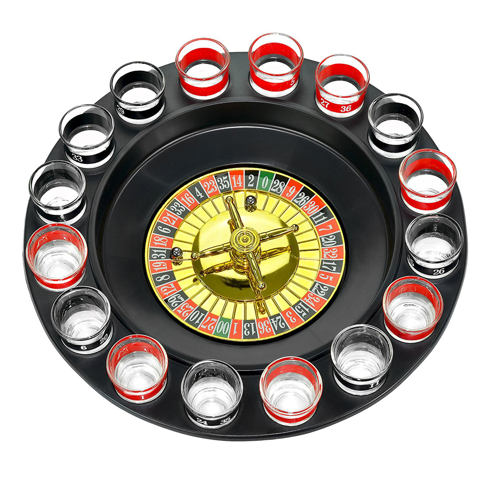 Shot Roulette - Fill the shot glasses with your favorite tipple. Place your bets and spin the roulette. Everybody wins at this game.