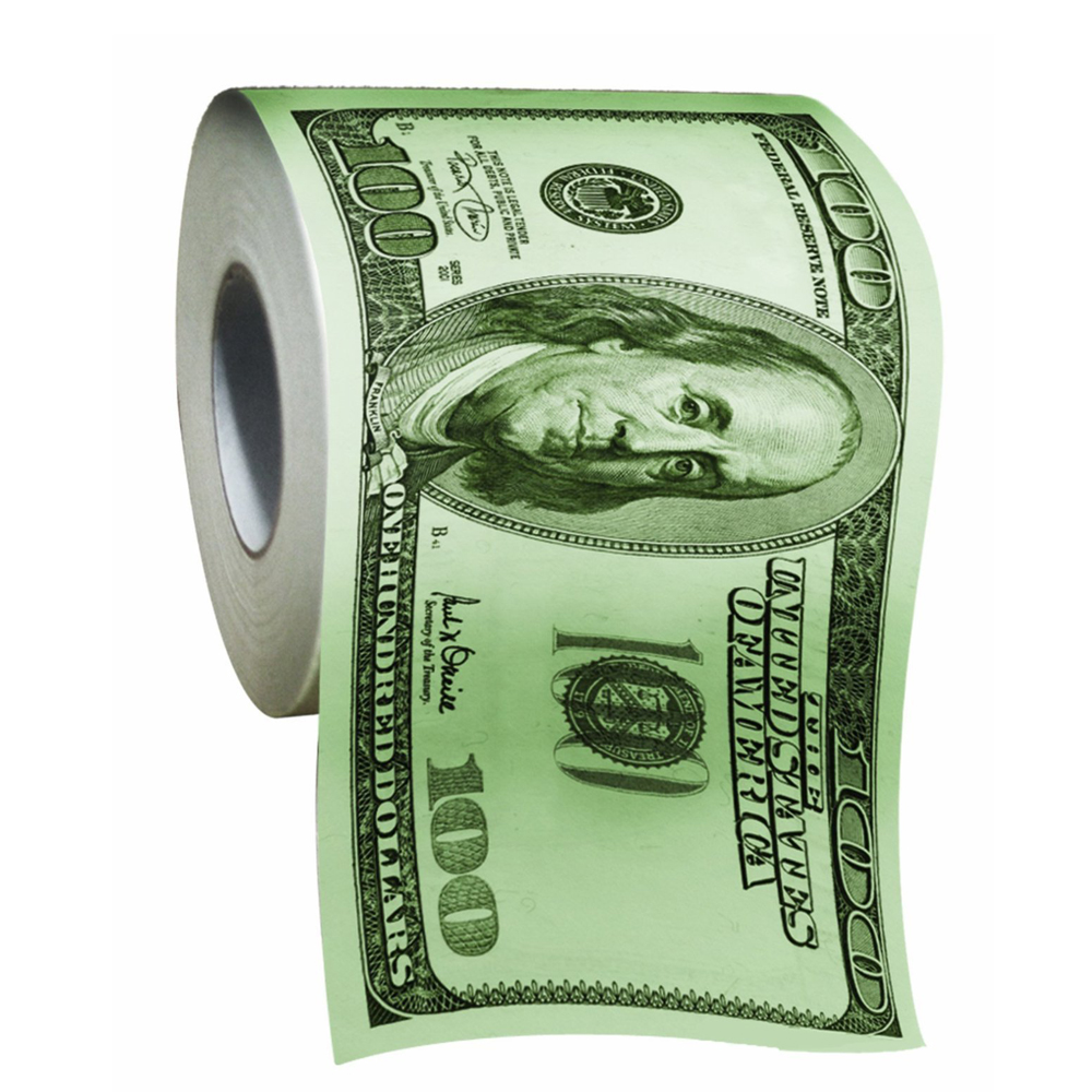 Dollar Bill Toilet Paper - Ain't this a fun thing to have in a party. Dreaming to have those dollar bill rolls is now available in the bathroom.