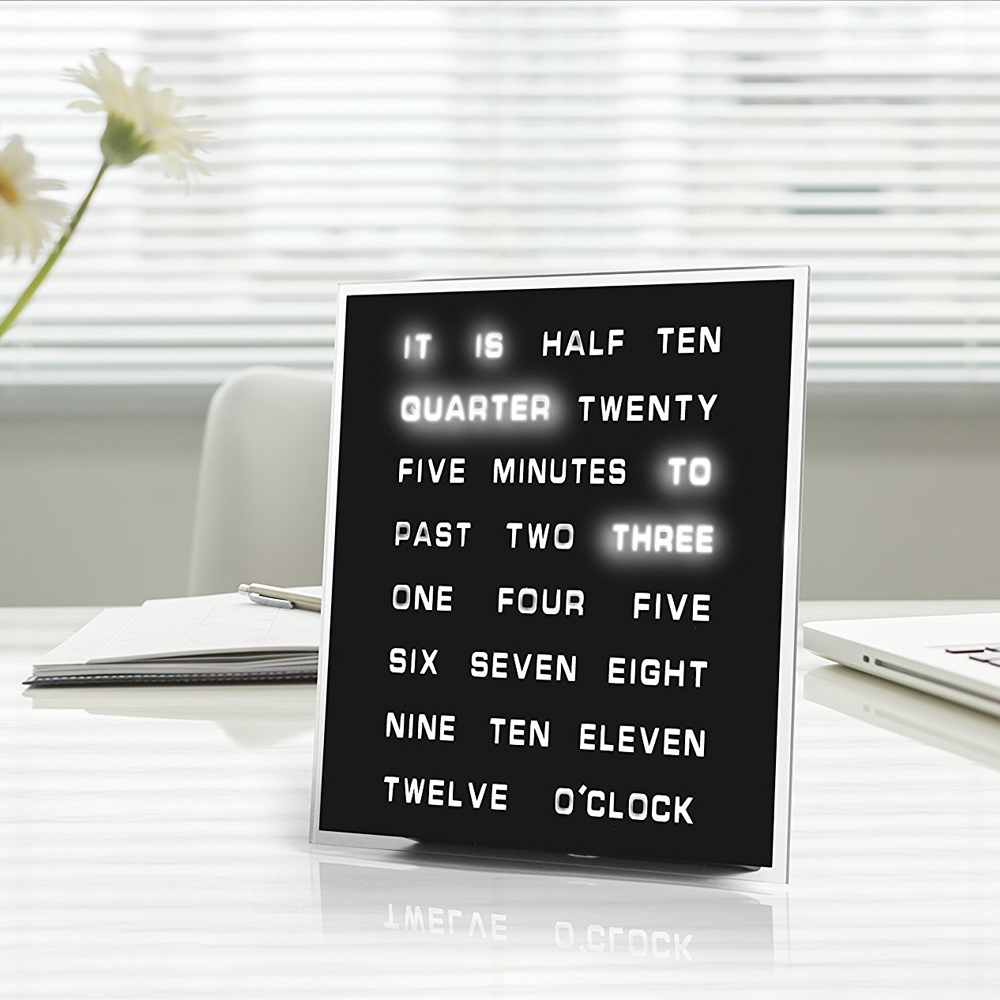 Word Clock - The awesome timepiece is a set of words which are selectively highlighted to show you the correct time. Look at your clock in a different way.