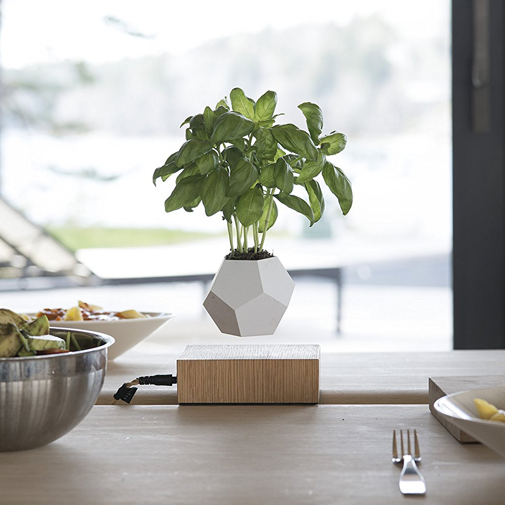 Flyte LYFE - No more soil required, the rotating microclimate and gravity-defying naturally nurtures the plant. NASA studies say that by placing a plant in your office, it increases air quality, removes toxins and reduces stress level.