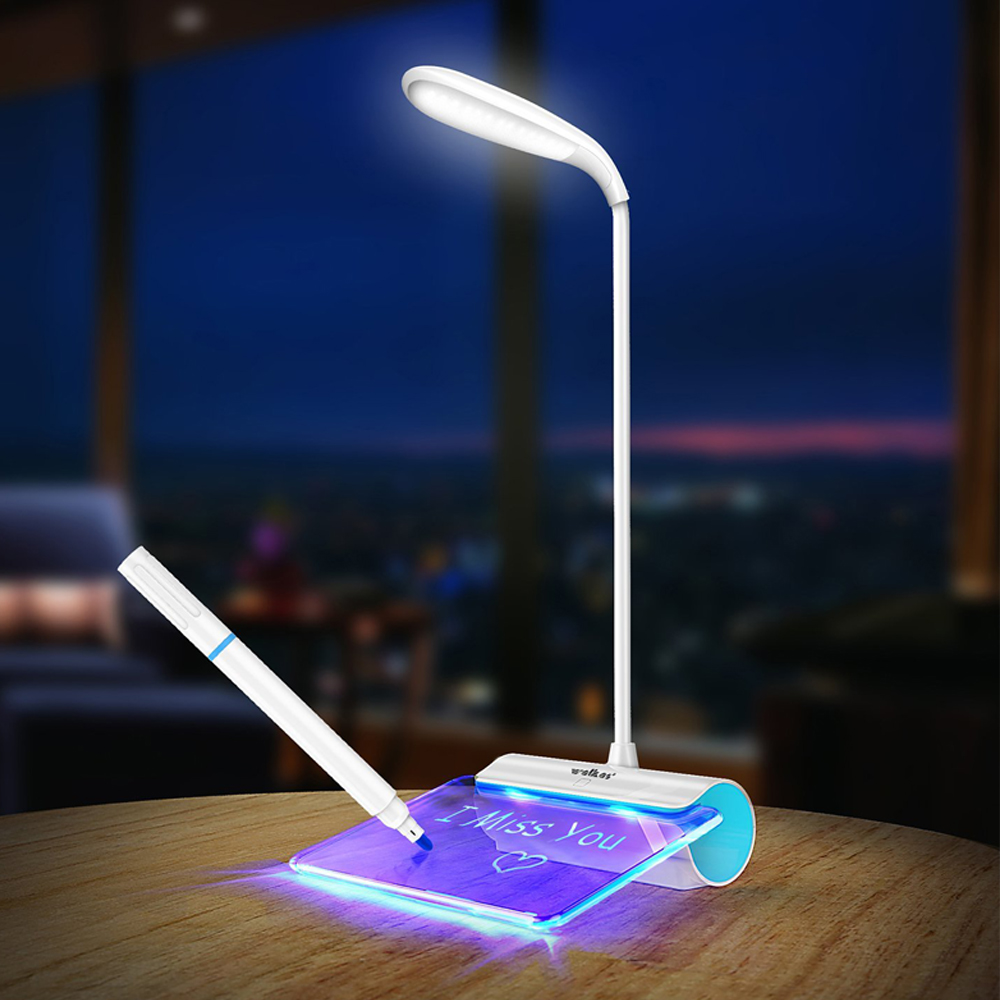 Desk Lamp with Notes - The neck is long and adjustable, you can move it around to where you need illumination. It comes with a USB plug and a highlighter pen with eraser. To turn on the light just tap the power button, you don't have to press because it is a touch sensor button.