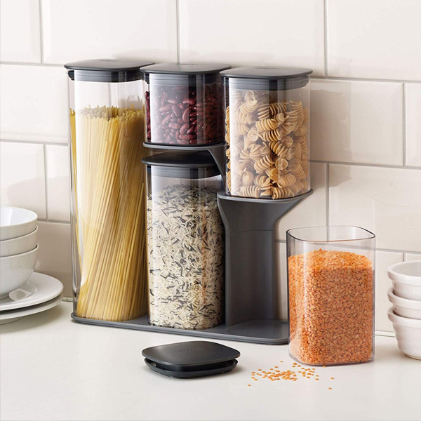 Dry Food Storage Container Set - Easily store your food and as well saving you a lot space in the kitchen.