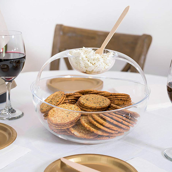 Crystal Clear Plastic Chips n' Dips Bowl - You won't need that extra bowl for dips anymore.