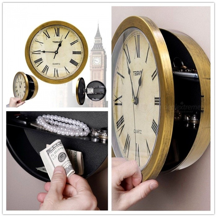 Wall Clock withCompartment - It's unlikely that people will expect that a clock has a secret stash.