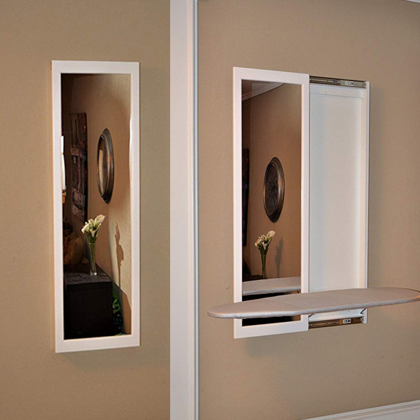 Iron Board Mirror - A dual purpose wall mounted mirror with a collapsible iron board.