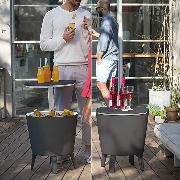 Cooler table - A modern cooler table that can contain ice, 60 cans or 40 bottles of beverage. At the bottom, there's an plug which you can pull to easily drain the leftover water.