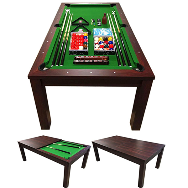 Pool Table - Aside from a billiard table this can also act as a normal table.Included in the package:15 Numbered Balls with Cue Ball 15 Red Balls with Cue Ball 6 Balls of different colours 6 cues (4 Standard Cues and 2 Rest shafts with rest head) Scoreboard Pool Table Cover Brush to clean the Cloth 2 chalks 2 Black Triangles