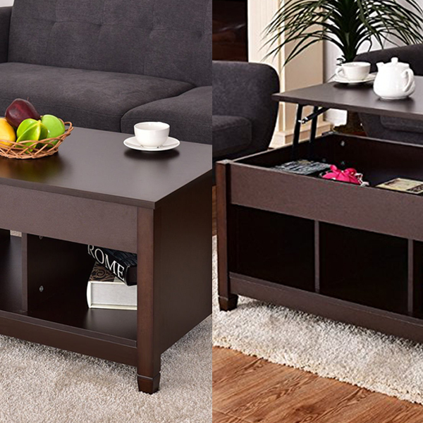 Lift Up Coffee Table - A functional coffee table which can offer additional storage for your excessive things.