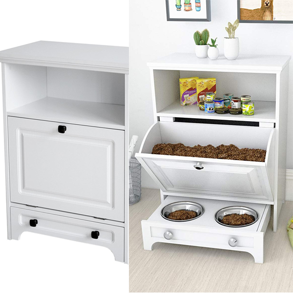 Pet Food Cabinet - A pet food storage in disguise as a cabinet, with slid drawer storage for pet food and pull out drawer inclusive of two pet's plate.