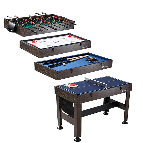 Game Table - Consists of four interchangeable games, a Hockey Table, Soccer Foosball Table, Pool Table, and Table Tennis Table.