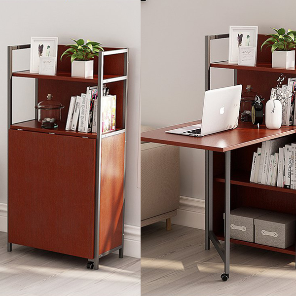 Bookshelves Computer Desk - Bookshelves with an easy access foldable computer desk.
