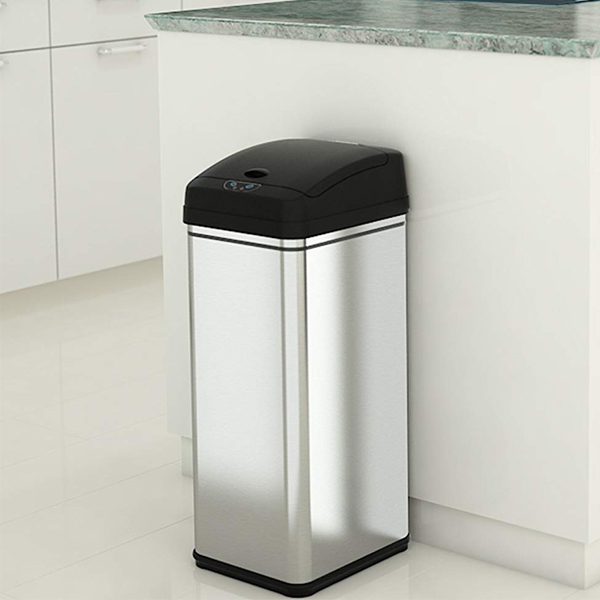 Touchless Trash Can - Sensor trash can that opens right away when you throw your garbage. Can carry about 13 gallons of trash.
