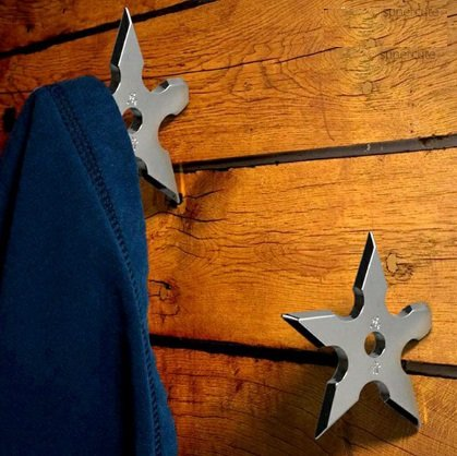 Shuriken Coat Hook - Decorative ninja shuriken that can also serve as a coat hook.