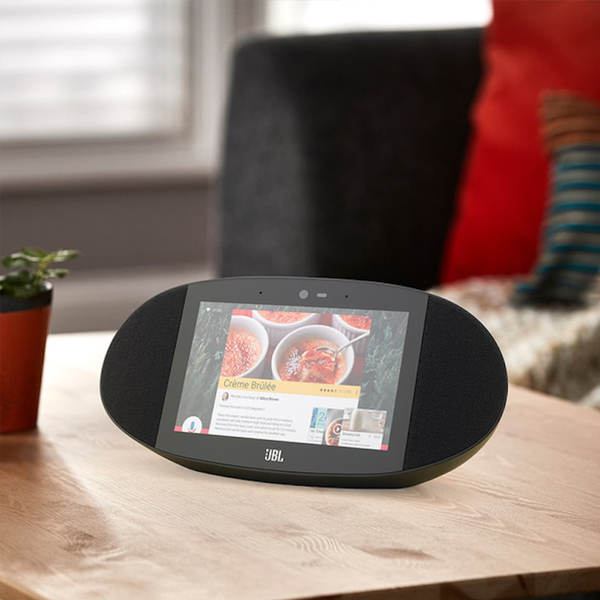 JBL Link - An oval-shaped 10 watts speaker with an 8-inch touchscreen all together powered by Google assistant.