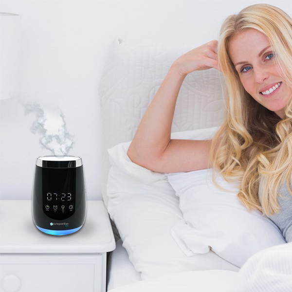 Diffuser Alarm Clock - Touch control alarm clock, you can also schedule the aroma therapy diffuser to your preferred time.
