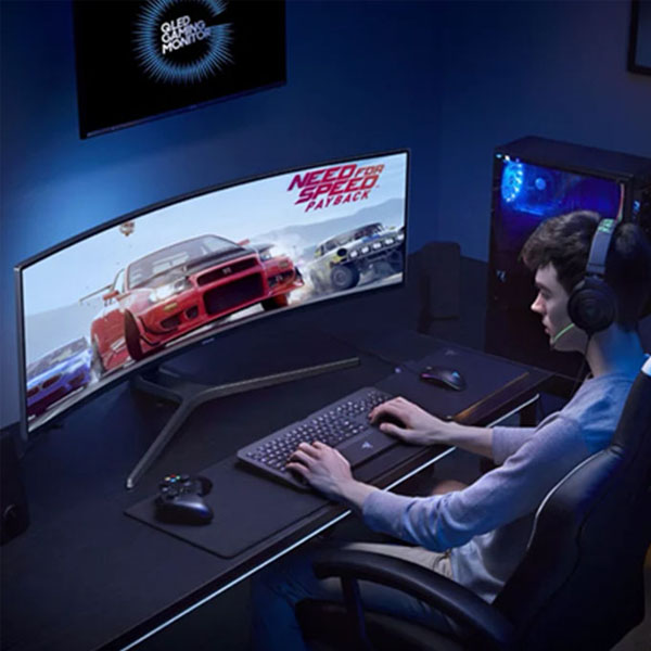 Curved Samsung Monitor - 49-inch Ultrawide monitor ready for your high definition games and movies.